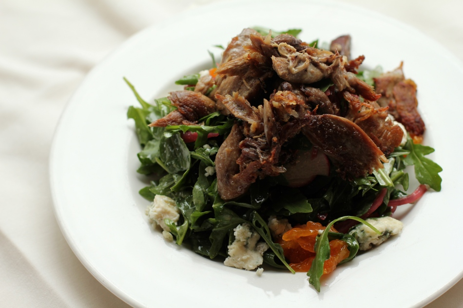 Seared Confit Duck and Arugula Salad
