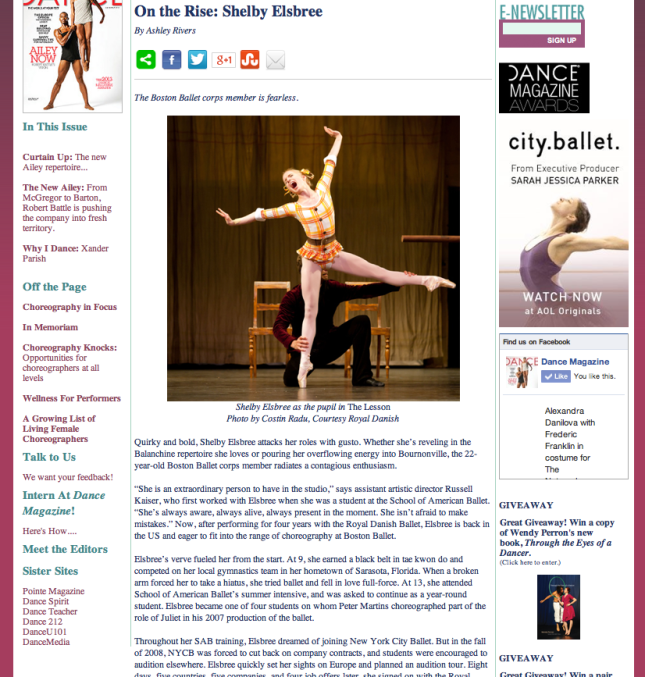 'On the Rise' Dance Magazine