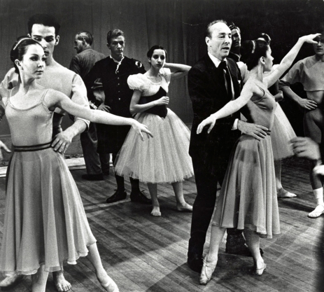 January 25, 1965 - First Subscription Season George Balanchine rehearsing Scotch Symphony © The George Balanchine Trust Pictured with Balanchine are Boston Ballet dancers Carol Ravich, Warren Lynch, Robert Pierce, Susan Magno, and Linda DiBona.  Unsigned photograph Boston Ballet Archives