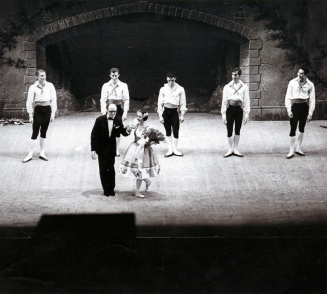 17 January 1966 Hans Brenaa, ballet master of the Royal Danish Ballet came to Boston to work with the company as they rehearsed for the company premiere of August Bournonville's Napoli. Brenaa was world renown for his knowledge of Bournonville's works. Boston Ballet became the first American company to present the full third act of Napoli on January 17, 1966 Boston Ballet in Napoli, Carol Ravich and Hans Brenaa, with Robert Steele, Mark Hudson, Warren Lynch, Steven Wistrich, and Anthony Williams Unsigned photograph Photo courtesy of Carol Ravich