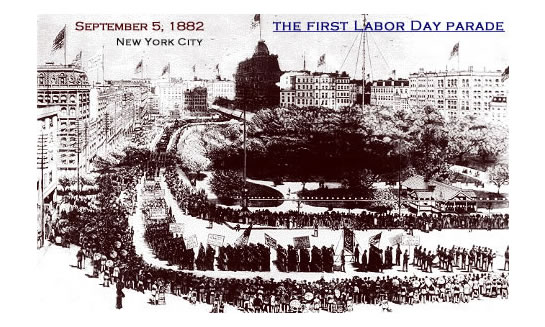 """An illustration of the first Labor Day parade, held on Sept. 5, 1882, in New York City. The holiday was organized by the Central Labor Union to exhibit ""the strength and esprit de corps of the trade and labor organizations"" of the community, and to host a festival for the workers and their families."""