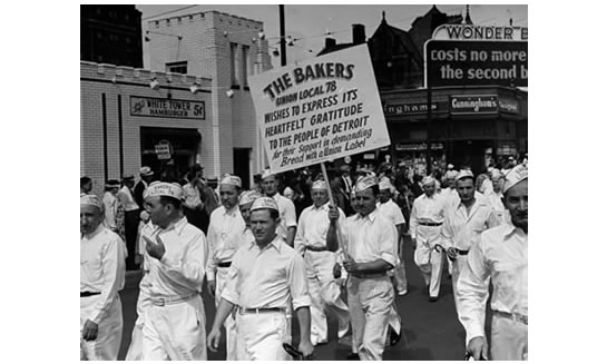"""Members of the Bakers Union Local 78 march in the Detroit, Mich., Labor Day parade. Date unknown, likely 1950s or 60s."""