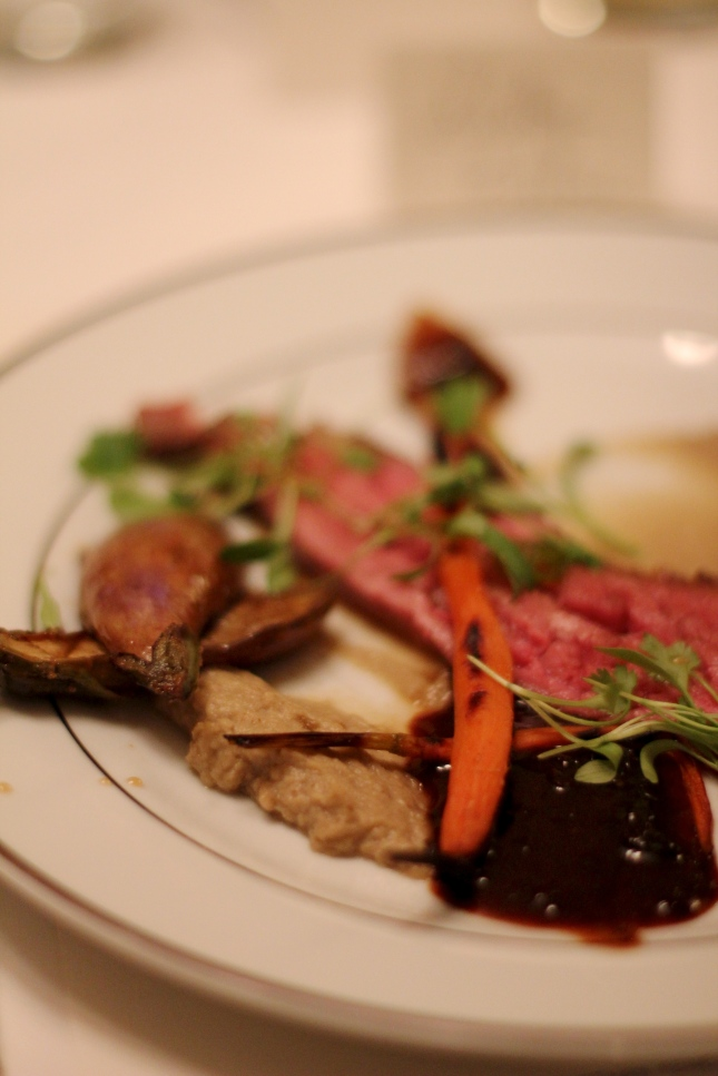 (Strip T's) Bavette, moxie gastrique, carrots and cilantro