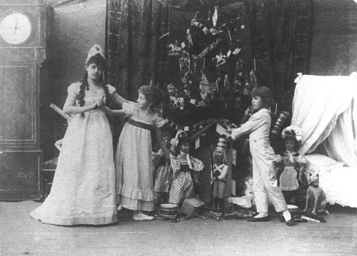 Lydia Rubtsova as Marianna, Stanislava Belinskaya as Clara and Vassily Stukolkin as Fritz, in the original production of The Nutcracker (Imperial Mariinsky Theatre, St. Petersburg, 1892)