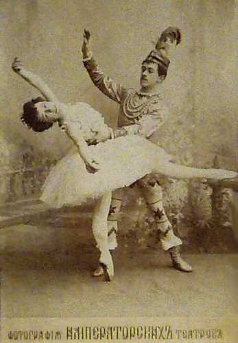 Sugar Plum Fairy and Nikolai Legat as Prince Coqueluche in the Grand pas de deux in the original production of The Nutcracker. Imperial Mariinsky Theatre, St. Petersburg, c. 1900