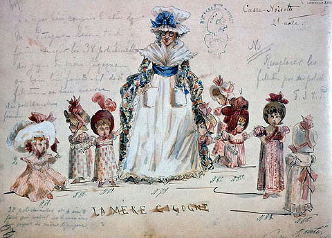 Ivan Vsevolozhsky's original costume designs for Mother Gigogne and her Polichinelle children, 1892.